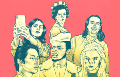 Illustration of actors Lily Collins, Olivia Colman, Lin Manuel Miranda, Steven Yeun, Daniel Kaluuya, and Jodie Comer