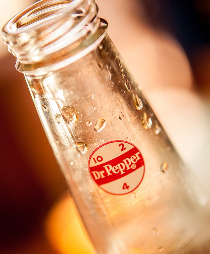 Photo of droplets on a bottle