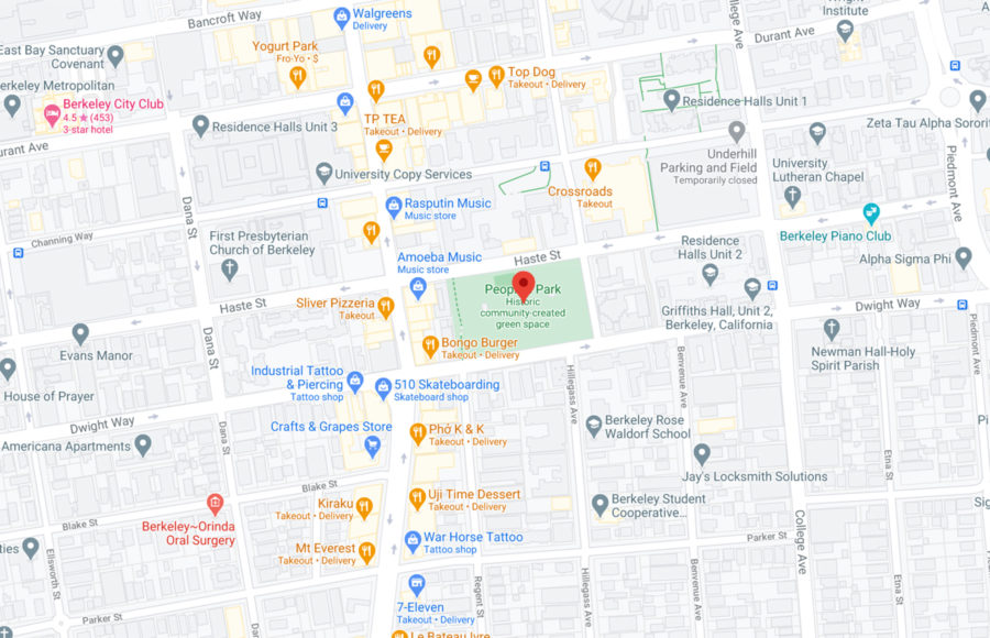 Screenshot of Google maps with a marker at People's Park