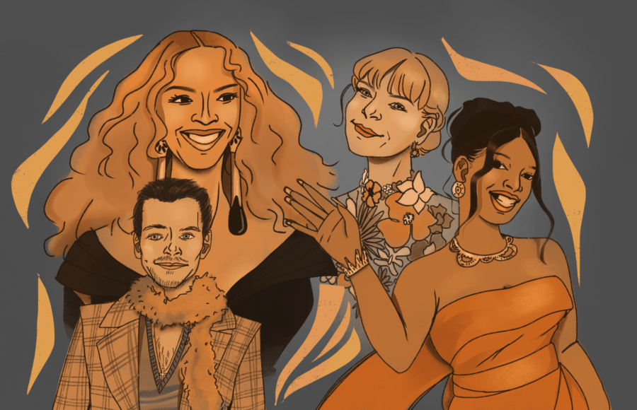 Illustration of Beyonce, Taylor Swift, Megan Thee Stallion, and Harry Styles at the 2021 Grammys