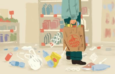 Illustration of a Trader Joe's shopping bag littering trash and waste everywhere in a shop