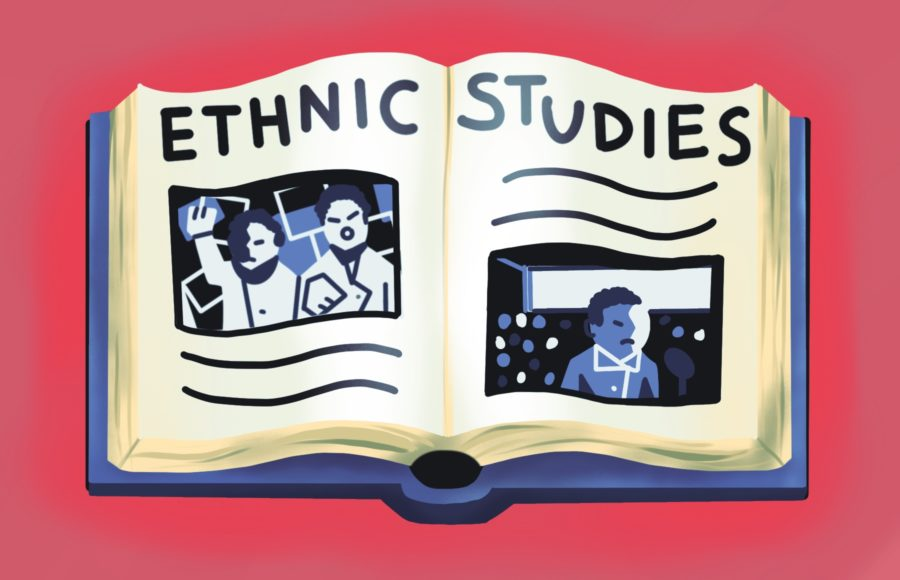 Illustration of an ethnic studies textbook