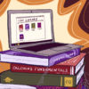 Illustration of a laptop displaying a library of textbook PDFs, while the laptop rests on top of a stack of dusty physical textbooks