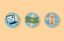 Illustration of three different icons: a computer with the logos of different programs onscreen, a dollar bill with the GA logo, and a set of scales in front of a scroll