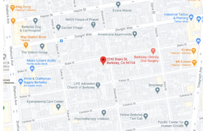 Screenshot of Google Maps with a marker on 2240 Blake St