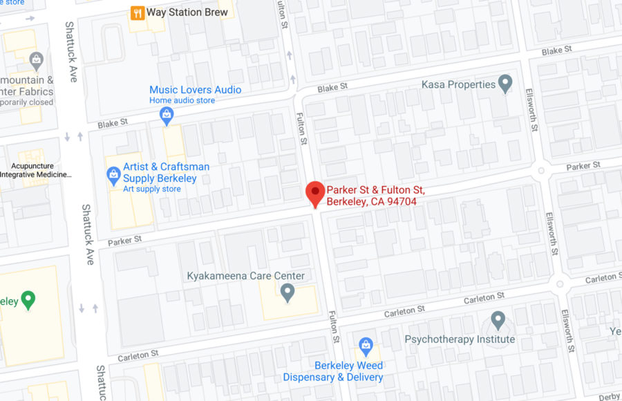 Screenshot of Google Maps with a marker at Parker St. & Fulton St.