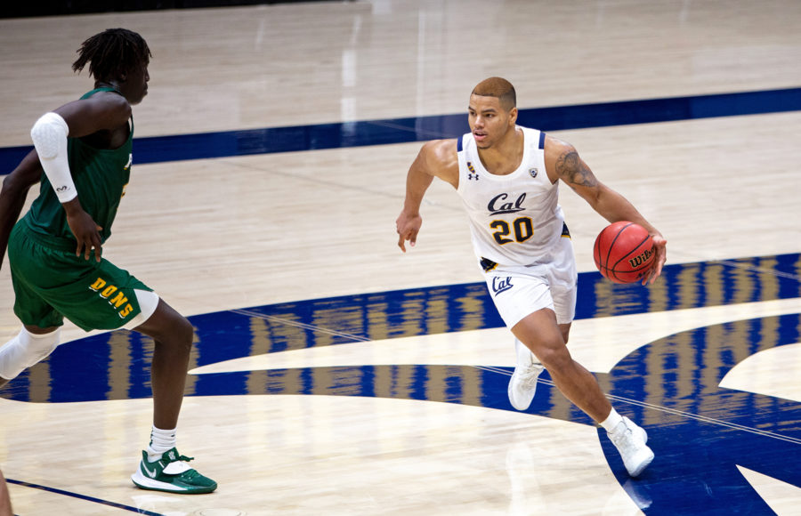 Photo of Matt Bradley of Cal Men's Basketball dribbling