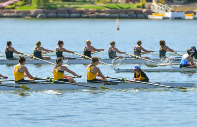 Photo of Cal Women's Rowing at the Las Vegas Invitational at Lake Las Vegas