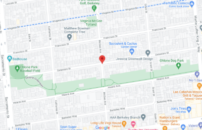 Screenshot of Google Maps with a marker on Delaware and McGee St.
