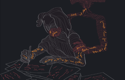 Illustration of a person writing intently in the dark, as the words they write bleed onto another person holding onto them