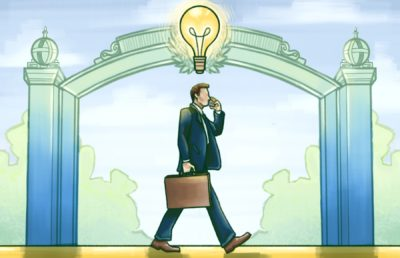 Illustration of a person walking through Sather Gate, holding a briefcase and with a lightbulb over their head