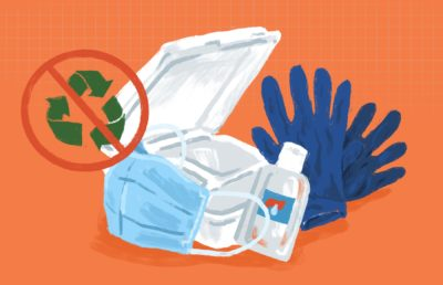 Illustration of common, non-environmentally-friendly items used in the pandemic, like disposable masks, gloves, and takeout containers