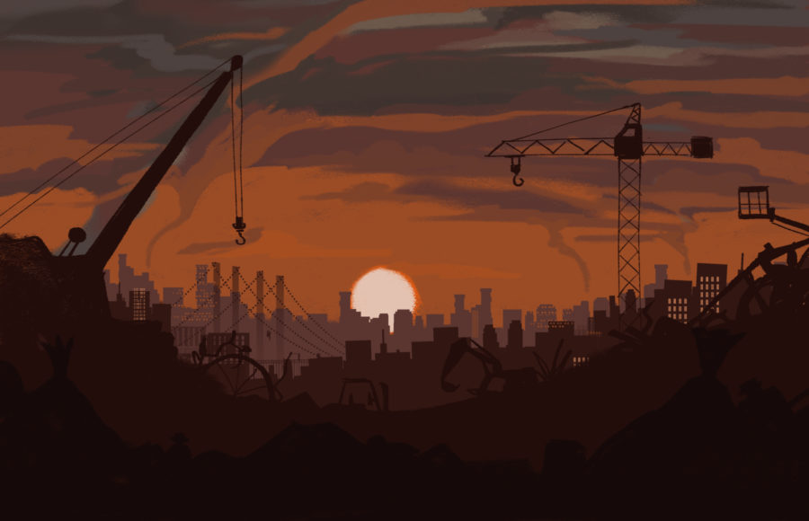 Illustration of a gloomy sunset over an industrial landscape covered in debris and fracking equipment