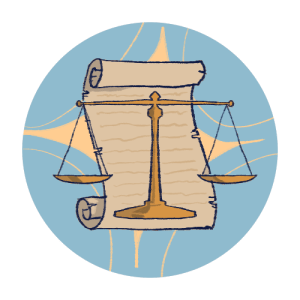 Illustrated icon of a set of scales in front of a scroll of paper