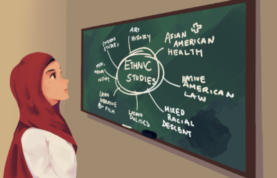 Illustration of a woman in a hijab looking at a chalkboard listing different ethnic studies curricula, but with no mention of Arab studies or Palestine