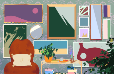 """Illustration of a room with a """"maximalist"""" aesthetic, with many posters on the wall, books, and plants"""