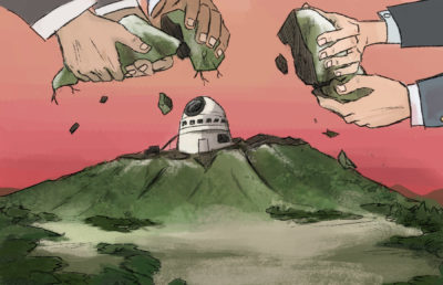 Illustration of hands pulling apart Mauna Kea and placing an observatory on top of it