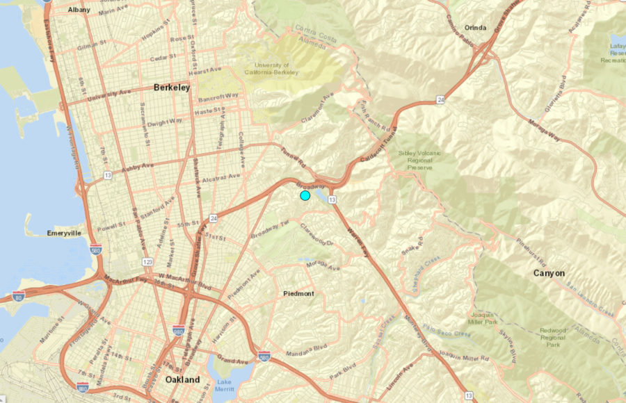 Screenshot with a marker on the earthquake epicenter