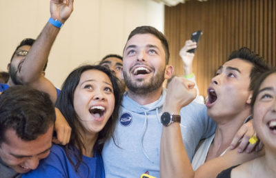 Photo of students celebrating at the Spring 2019 ASUC Tabulations
