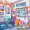Illustration of a dorm room with many decorations