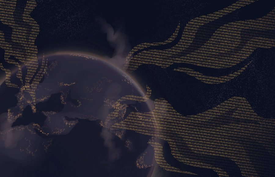 Illustration of a polluted earth with data smoke emitting from it