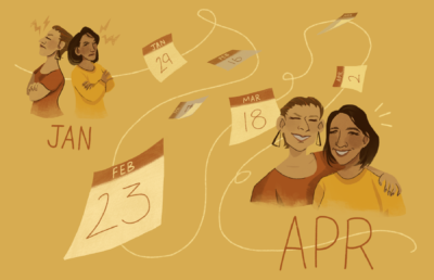 Illustration of two people becoming friends over the course of a year