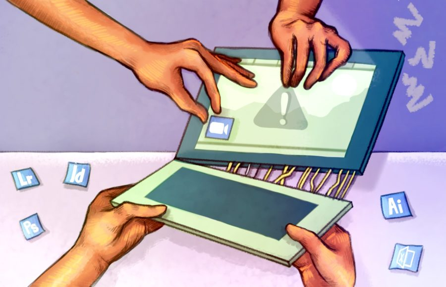 Illustration of the student-funded apps being ripped from a computer