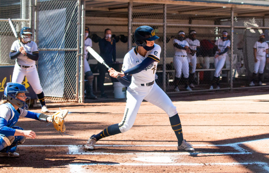 photo of a Cal softball player during a game