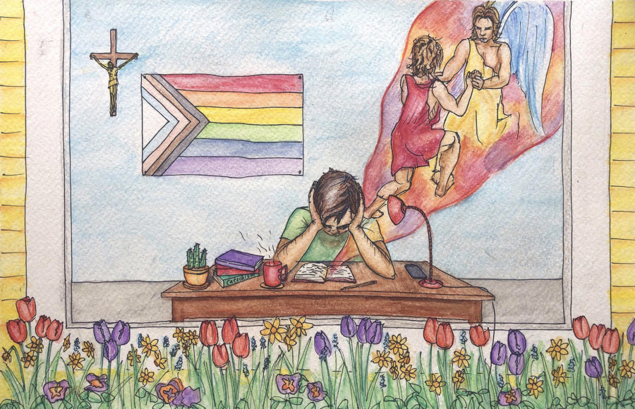 Illustration of an LGBTQ+ youth contemplating religion
