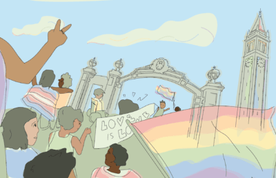 Illustration of a pride march in front of Sather Gate