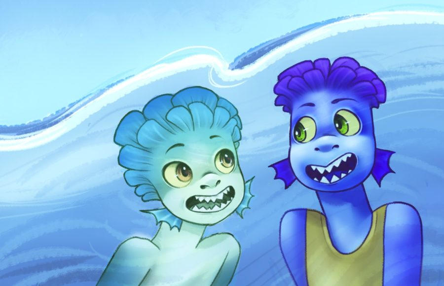 Illustration of two fish boys from the movie Luca