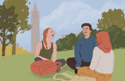 Illustration of students talking in front of the campanile