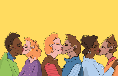 Illustration of various people kissing