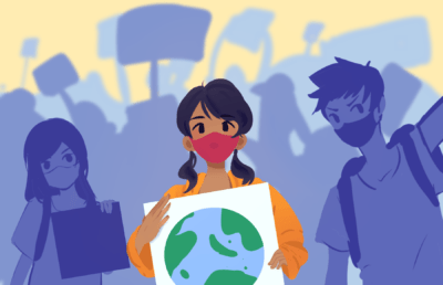 Illustration of students raising awareness for the environment