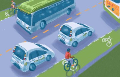Illustration of clean transportation the road