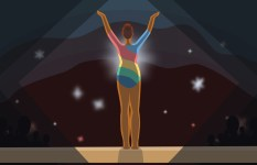 Illustration of a gymnast on a stage