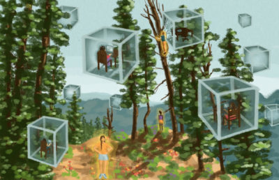 Illustration of people in floating glass boxes