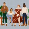 Illustration of people in fashionable clothing