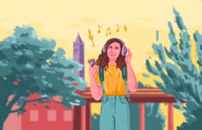 Illustration of a girl listening to music