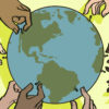 Illustration of hands picking up people from across the globe