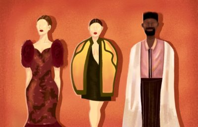 Illustration of three models wearing different couture looks inspired from international cultures and California