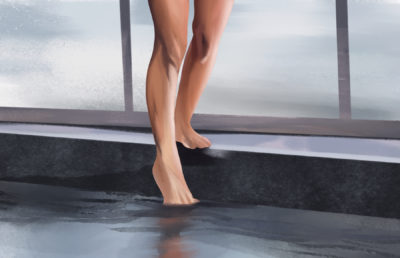Illustration of feet stepping into water