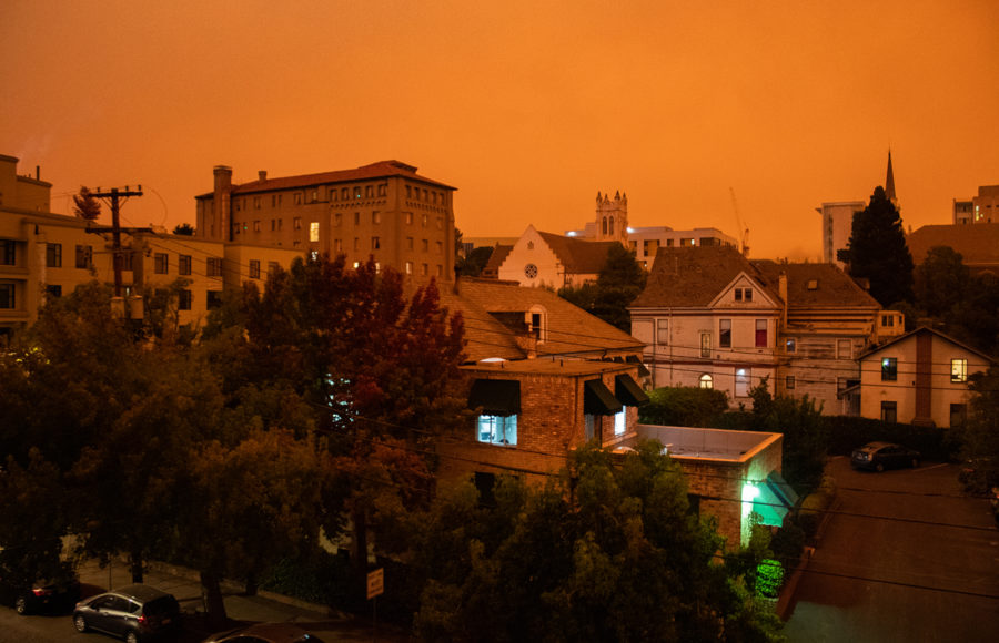 photo of Berkeley buildings and power lines during fire season