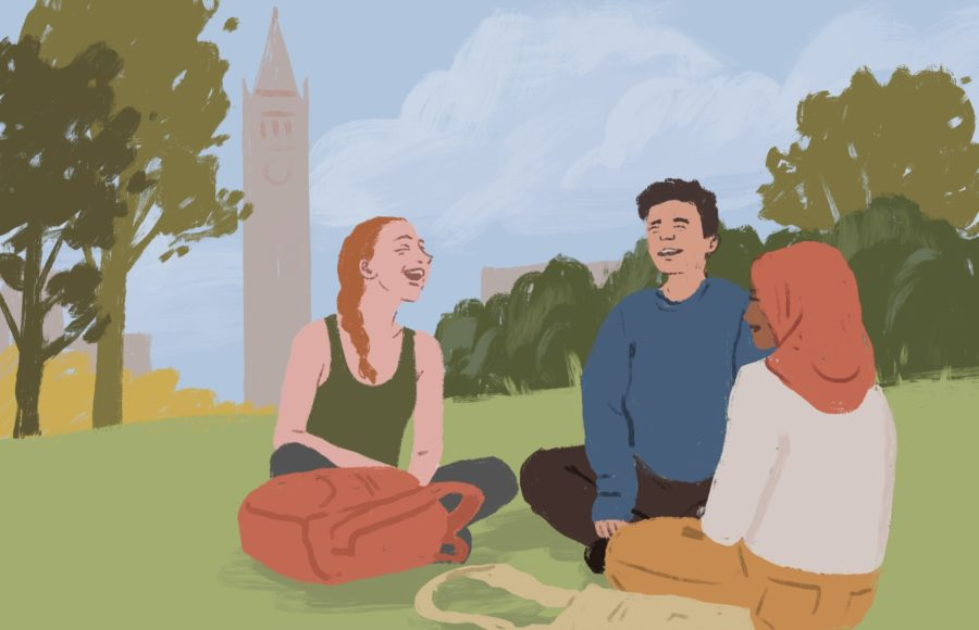 Illustration of students in front of Sather Tower