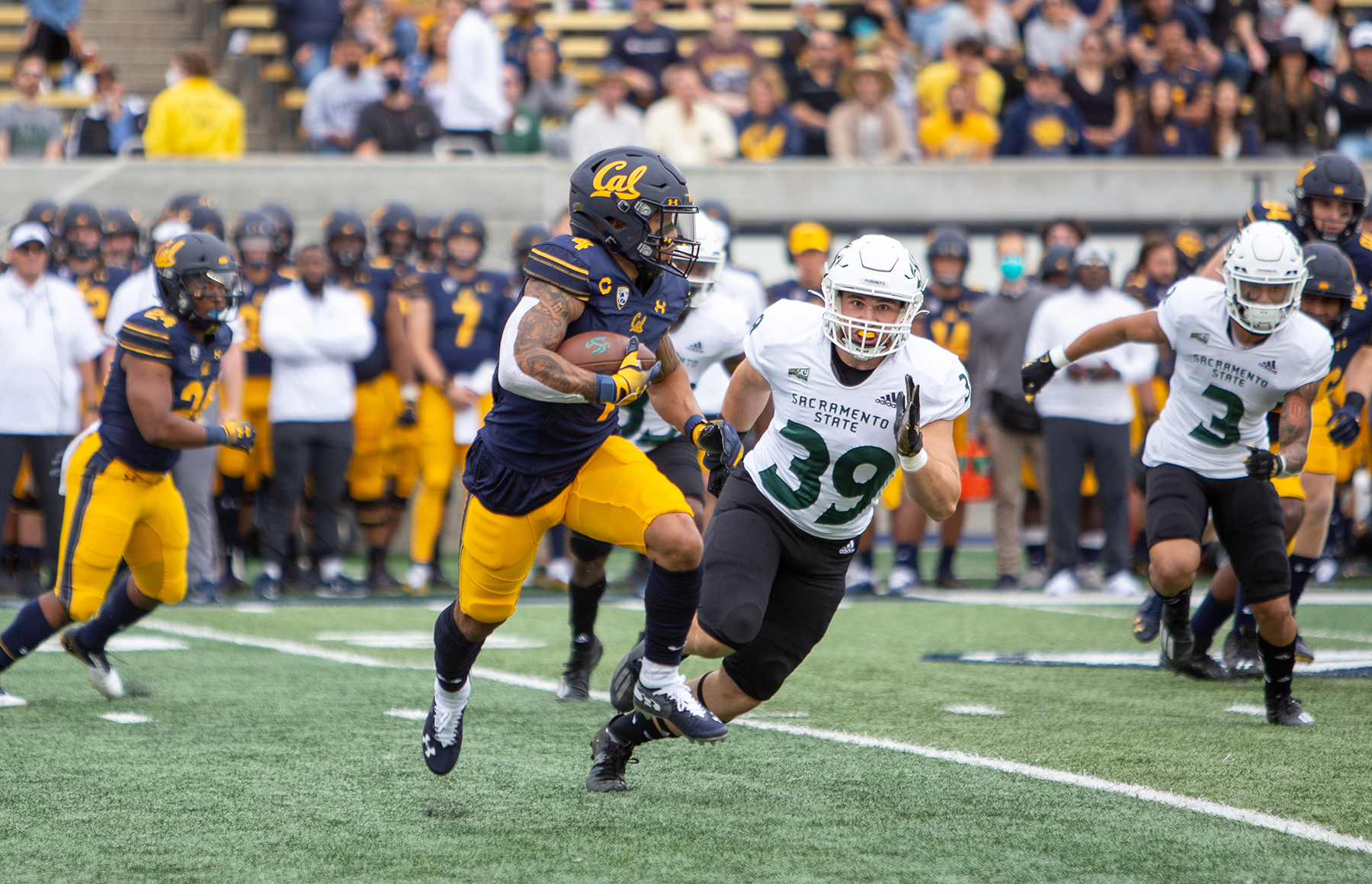Cal offense sinks Sacramento State, secures season's 1st win 42-30