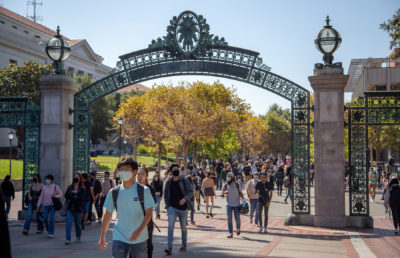 photo of students on sather gate