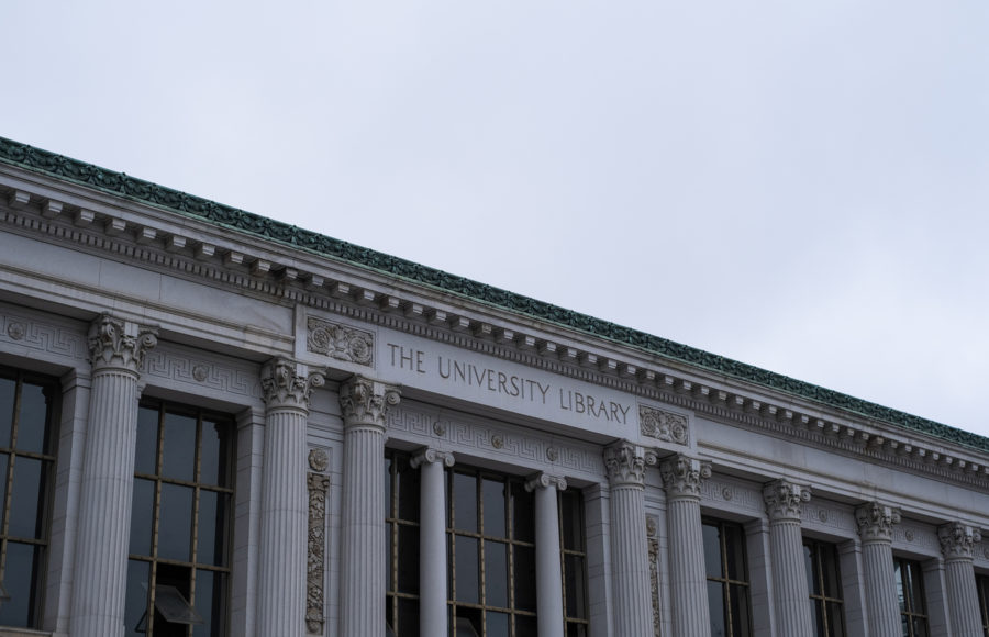 zoomed in photo of Doe Library