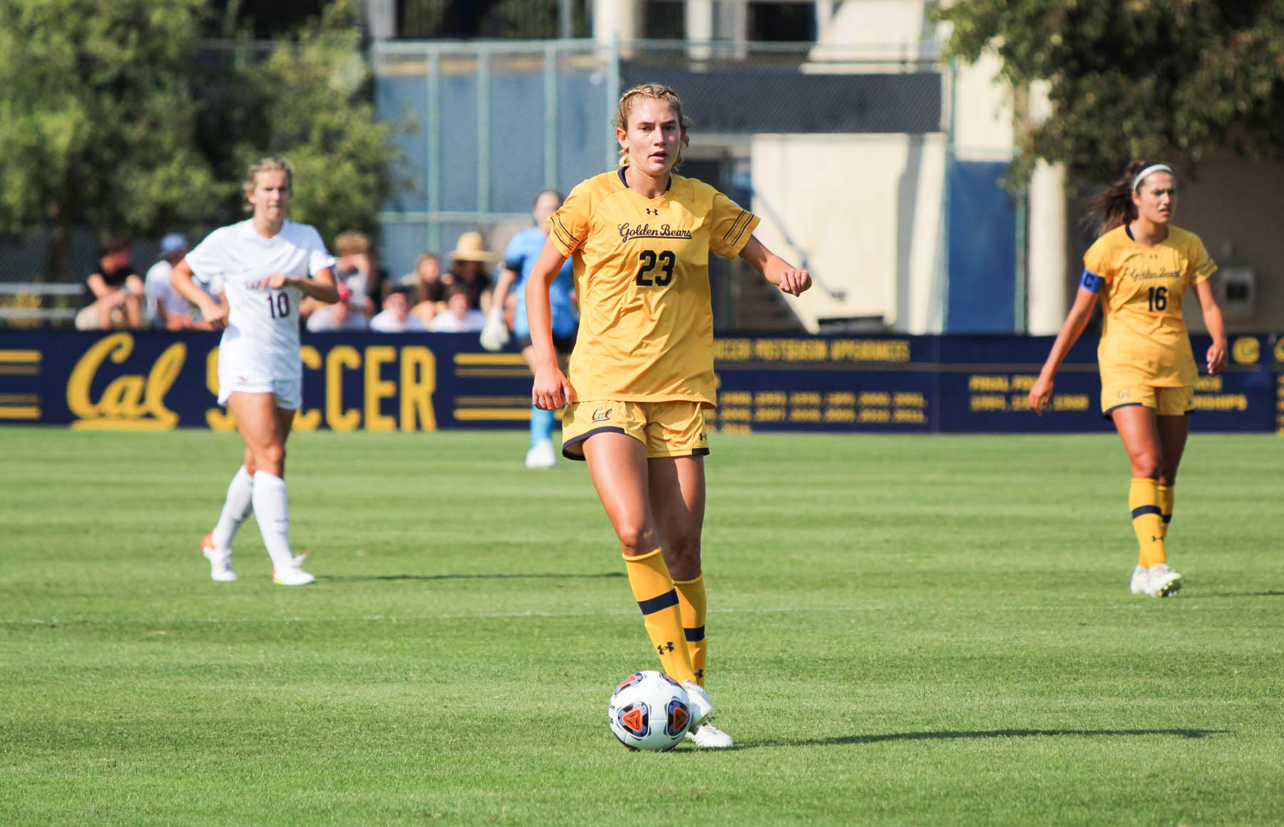 photo of Cal women's soccer player Paige Metayer kicking a ball