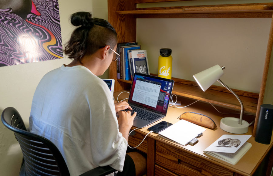 Photo of a student on a computer