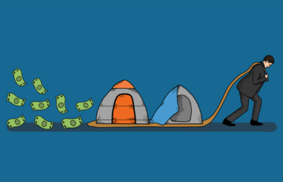 Illustration about homelessness and the economy